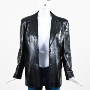 Gucci Black Leather Tailored Two Button Long Sleeve Jacket Blazer