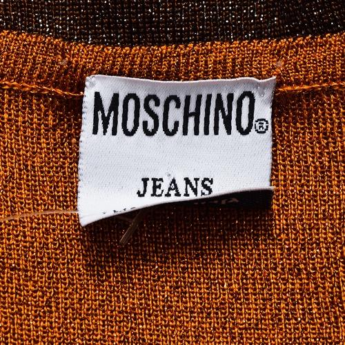 Moschino Jeans Orange Brown Knit Metallic Sleeveless Top Tag