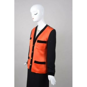 Vintage Chanel Black & Orange Satin Panel & Knit Skirt Suit