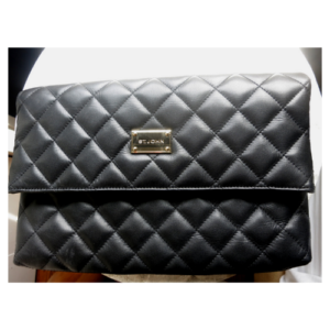 St. John Collection Black Quilted Leather Fold-Over Clutch