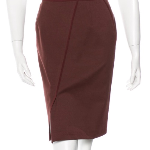 Reed Krakoff Oxblood Structured Pencil Skirt
