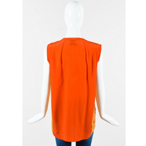 "3.1 Phillip Lim ""Papaya"" Orange Silk Sequined Draped Sleeveless Top Back"