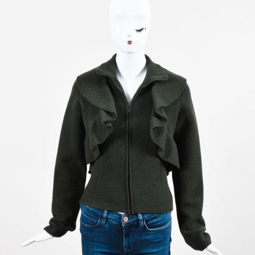 Valentino Dark Green Felted Wool Ruffle Trim Long Sleeve Jacket Front