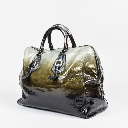 DesignerShare Prada Black Green Silver Patent Leather Ombré Satchel Handbag – Side