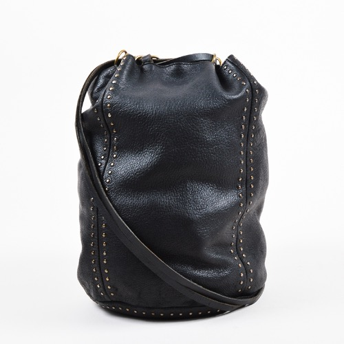 DesignerShare Prada Black Leather Gold Tone Stud Drawstring Sack Bag – Front