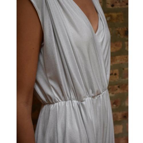 Inbal Gvili White Shimmery Jumpsuit Close Up