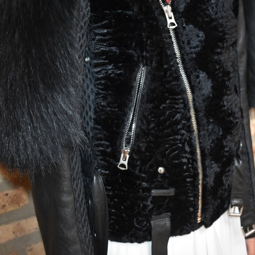 Greedilous P.Y.H. Fur-Trimmed Leather Jacket Fur Detail