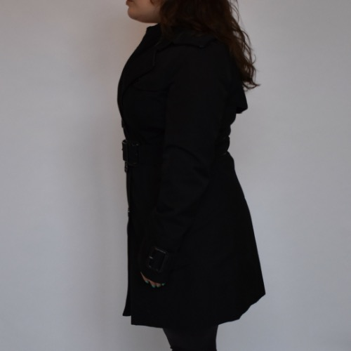 Burberry Short Black Trench Coat Side