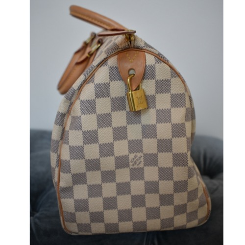 DesignerShare Louis Vuitton Damier Azur Speedy Bandouliere 30 Tote - Side