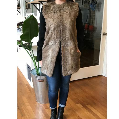 Jenni Kayne Genuine Rabbit Fur Collarless Vest Front