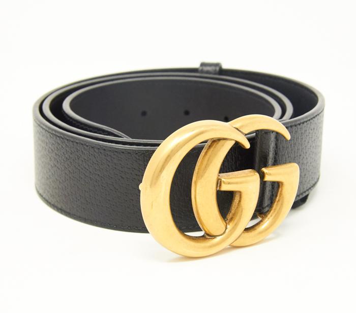 756206a29a109 Gucci Black GG Belt Gold Logo – DesignerShare