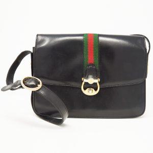 af92ace101a87 Gucci Vintage Black Leather Crossbody