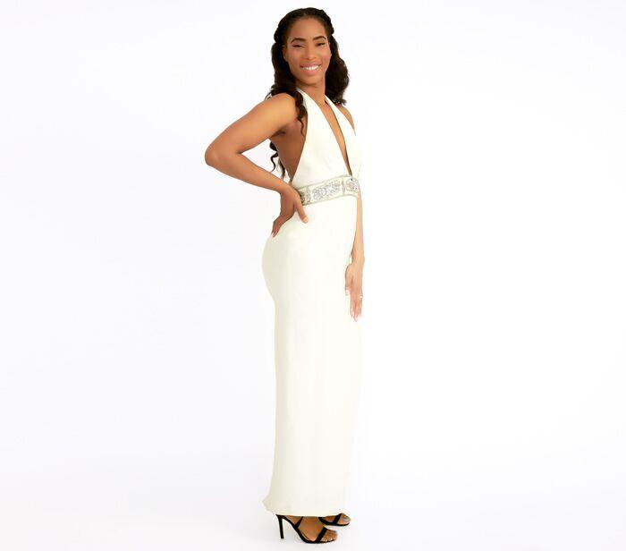Marchesa Notte White Embellished Halter Gown – DesignerShare