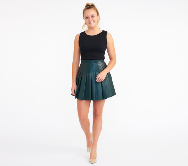 AllSaints Dark Green Pleated Leather Miniskirt 2
