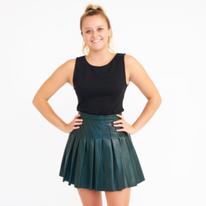 AllSaints Dark Green Pleated Leather Miniskirt