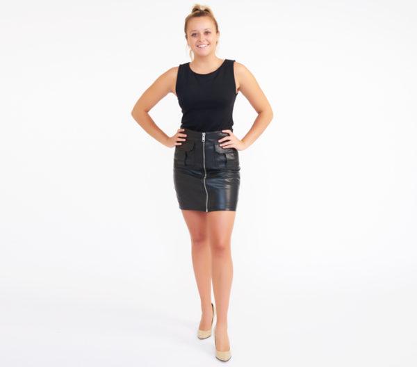AllSaints Black Taylor Sheep Leather Skirt 2