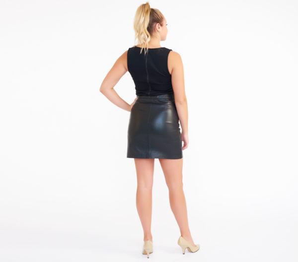 AllSaints Black Taylor Sheep Leather Skirt 4