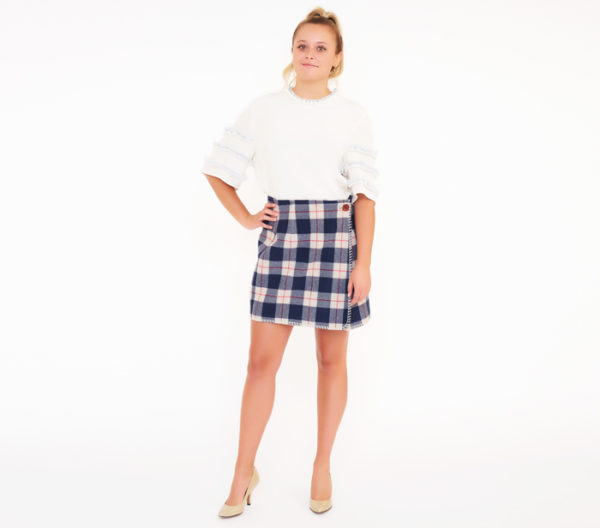 Blue Family By Benetton Plaid Skirt