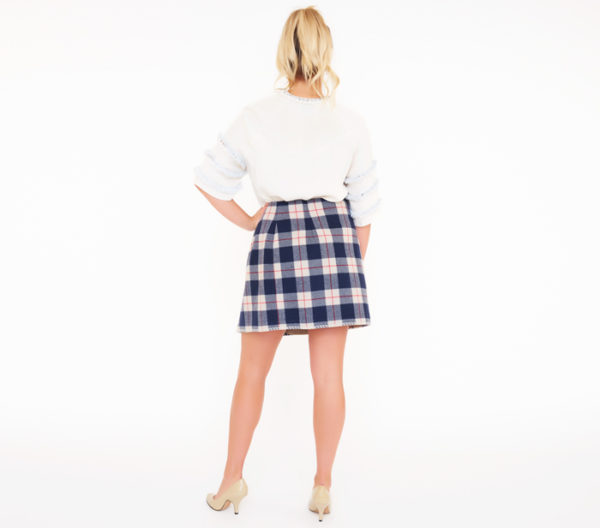 Blue Family By Benetton Plaid Skirt Back