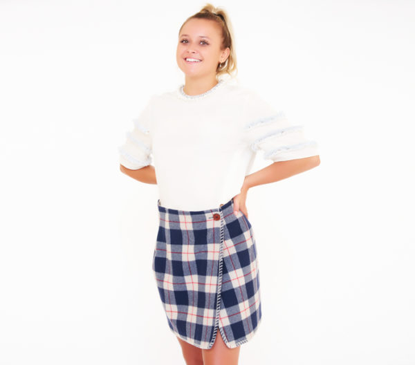 Blue Family By Benetton Plaid Skirt Front