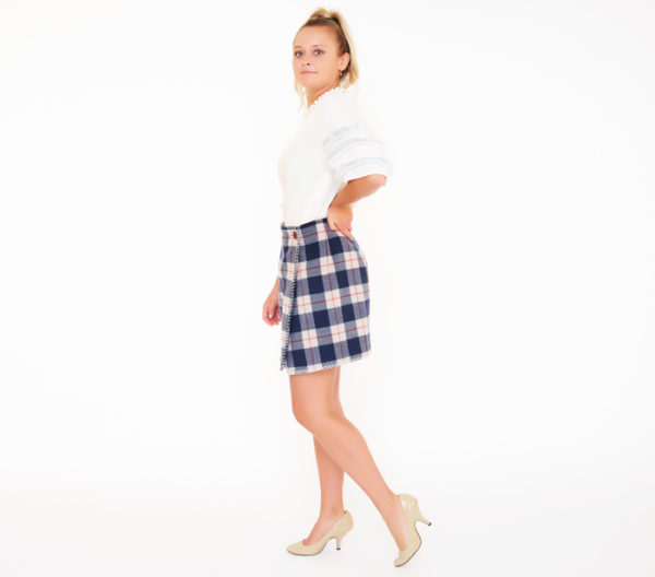 Blue Family By Benetton Plaid Skirt Side