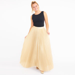 Alice + Olivia Katz Gold Pleated Maxi Skirt
