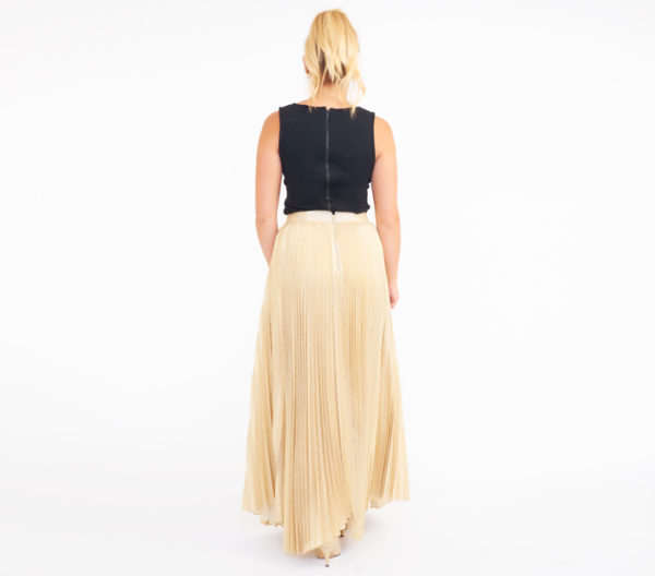 Alice + Olivia Katz Gold Pleated Maxi Skirt Back
