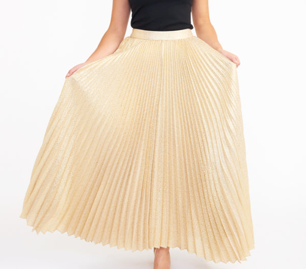 Alice + Olivia Katz Gold Pleated Maxi Skirt Close Up