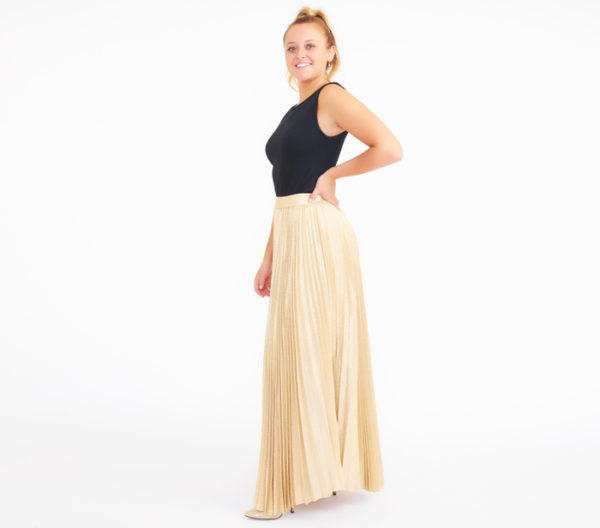 Alice + Olivia Katz Gold Pleated Maxi Skirt Side