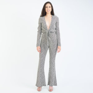 Stone Cold Fox Stardust Plunging V Neck Jumpsuit