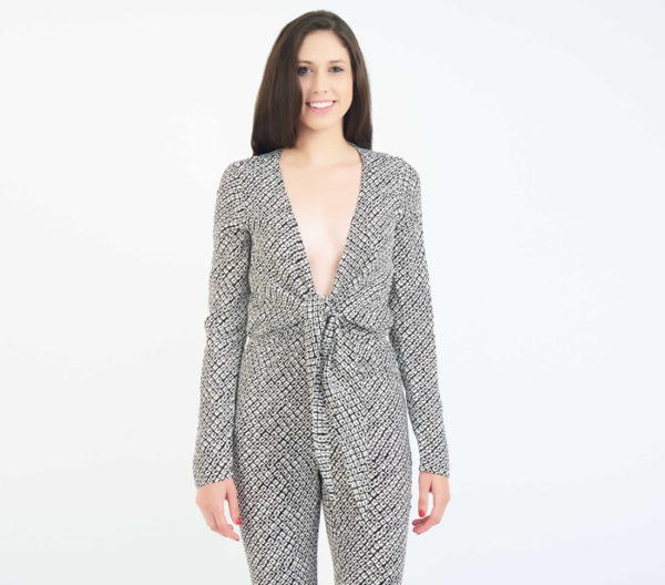 Stone Cold Fox Stardust Plunging V Neck Jumpsuit Close Up