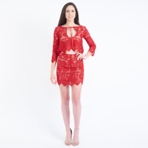 For Love & Lemons Gianna Red Lace Two Piece Skirt Set