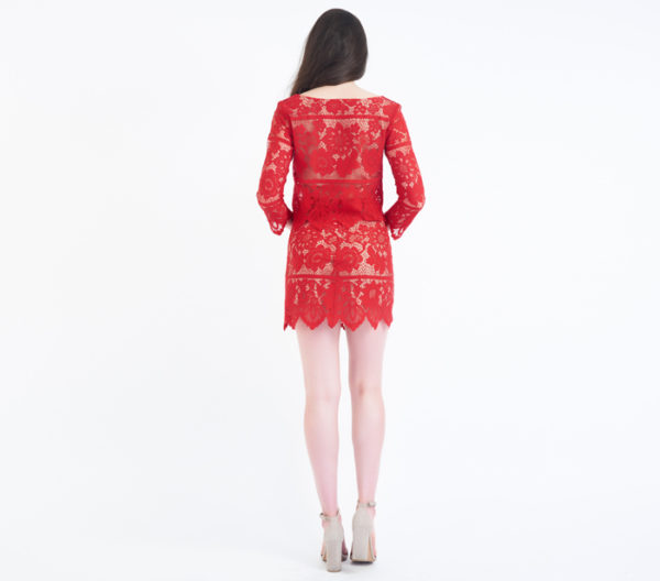 For Love & Lemons Gianna Red Lace Two Piece Skirt Set Back