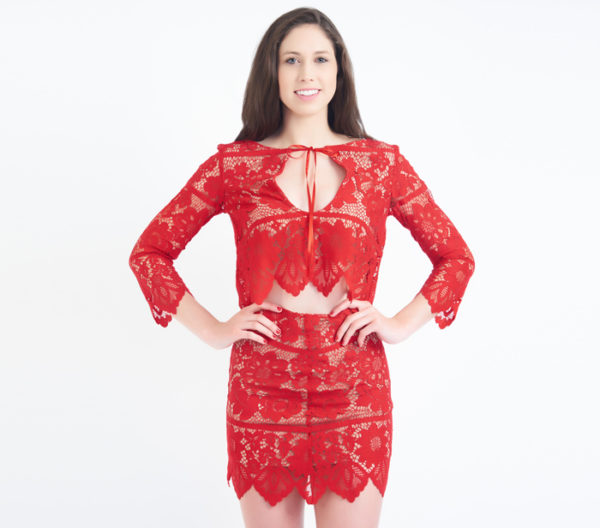 For Love & Lemons Gianna Red Lace Two Piece Skirt Set Close Up