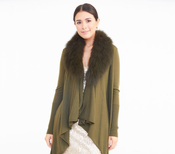 "Alice + Olivia Green ""Azaria"" Fox Fur Collar Duster Cardigan Close Up"