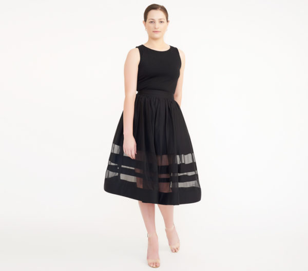 "Alice + Olivia Black ""Misty"" Mid-Length Skirt"