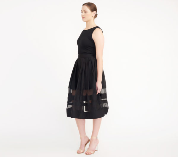 "Alice + Olivia Black ""Misty"" Mid-Length Skirt Side"