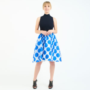 Alice + Olivia Blue And White Circle Print Skirt