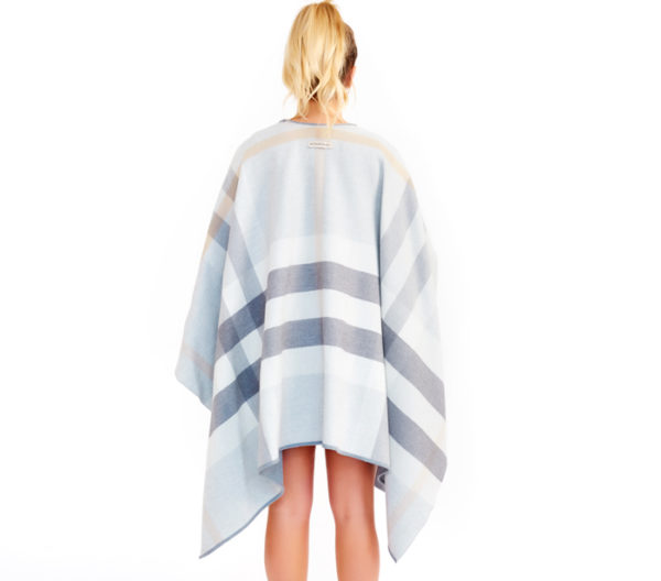Burberry Light Gray Reversible Checked Poncho BAck