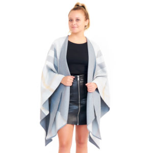 Burberry Light Gray Reversible Checked Poncho