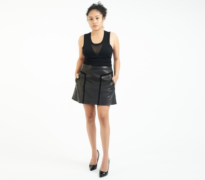 "e6b97a267f488 Rag   Bone ""Louise"" Flared Leather Skirt – DesignerShare"