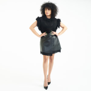 Joie Leather Fold Over Skirt