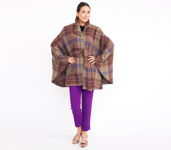 Lauren Ralph Lauren Plaid Cape Coat Front