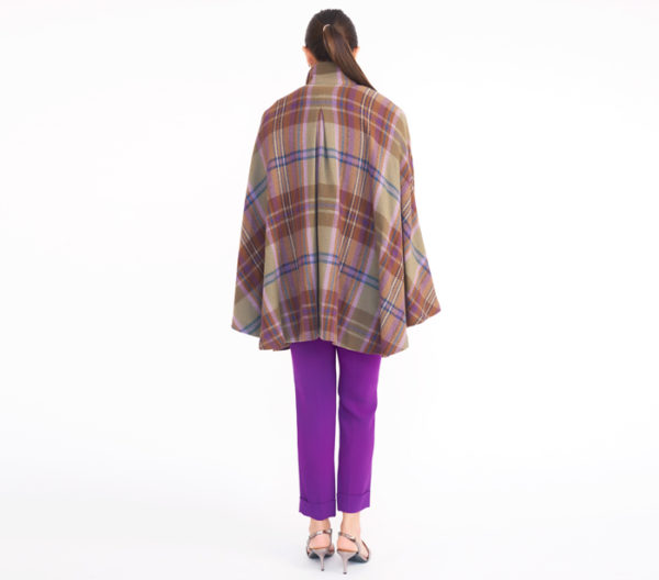 Lauren Ralph Lauren Plaid Cape Coat Back