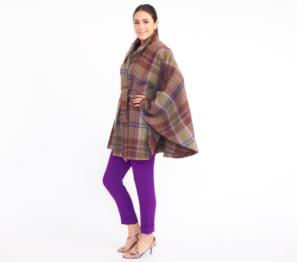 Lauren Ralph Lauren Plaid Cape Coat Side