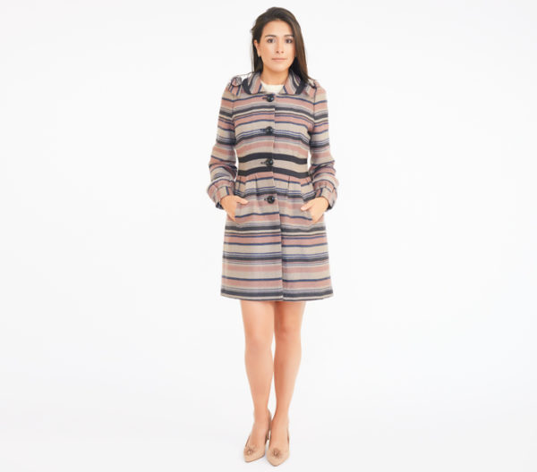 Elevenses Striped Coat Front