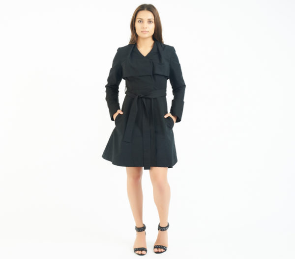 Coat Check Chicago Black Belted Trench Front