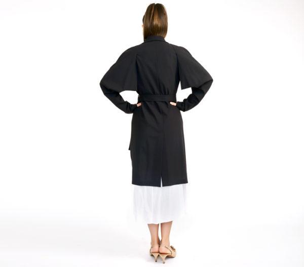 Jil Sander Black Unlined Trench Coat Back