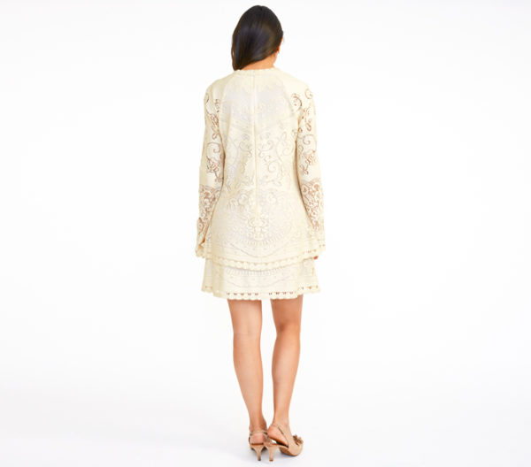 DesignerShare See by Chloé Cream Tired Pointelle Dress - Back