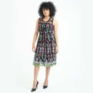 Parker Black EmbroideRed Floral Midi Dress